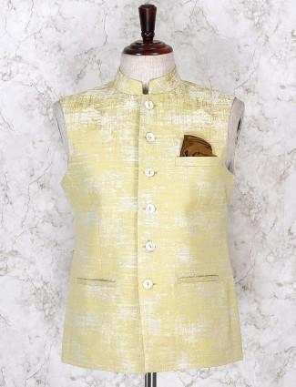 Lemon yellow textured pattern waistcoat