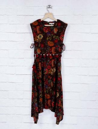 Leo N Babes dark grey cotton fabric printed top