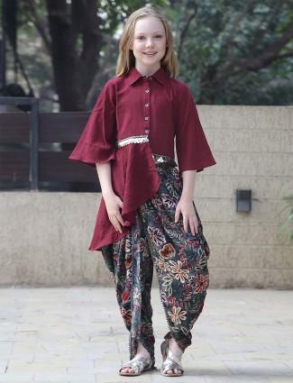 Leo N Babes maroon hue pretty cotton dhoti suit