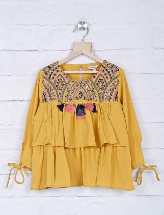 Leo N Babes mustard yellow georgette top