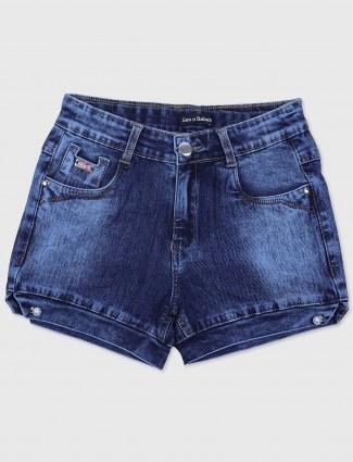 Leo N Babes washed blue denim shorts