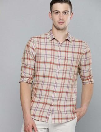 Levis beige checks linen shirt