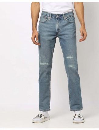 Levis light blue denim solid 511 slim fit jeans