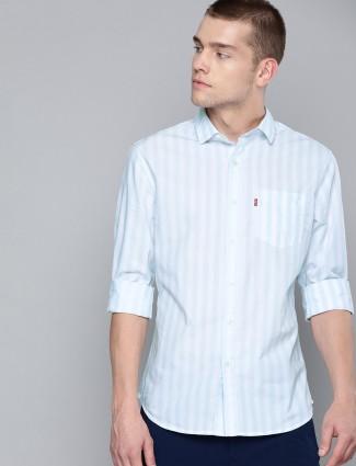 Levis light blue stripe cotton shirt