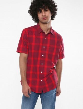 Levis maroon checks pattern shirt
