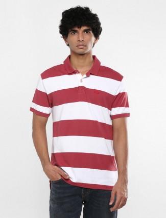 Levis maroon white stripe mens t-shirt
