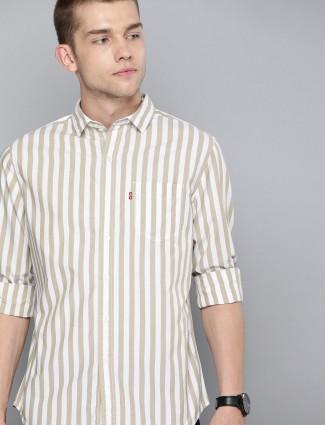 Levis mens beige stripe shirt