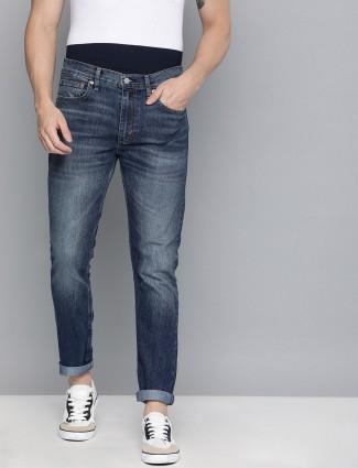 Levis navy blue denim 512 slim taper jeans