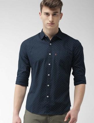 Levis navy hue printed pattern casual shirt