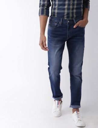 Levis royal blue solid slim fit jeans