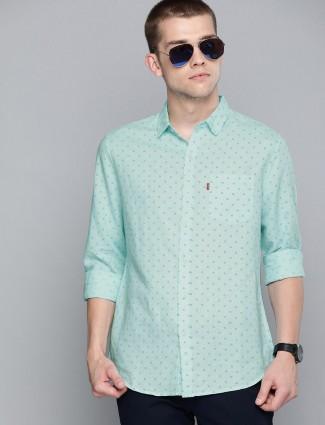 Levis sea green printed cotton shirt