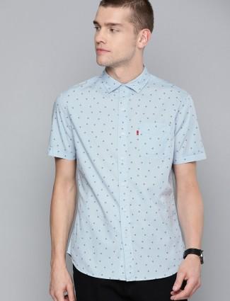 Levis sky blue printed half sleeves shirt