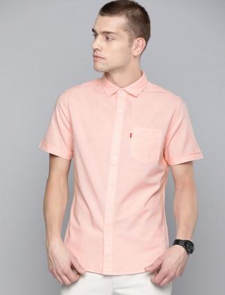 Levis solid cotton peach shirt