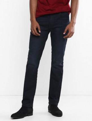 Levis solid denim navy red loop slim fit jeans