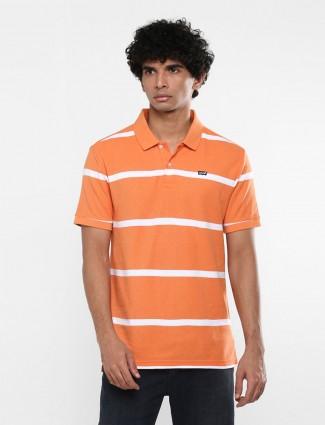 Levis stripe orange polo neck t-shirt