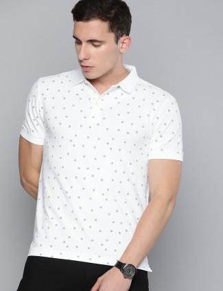 Levis white printed polo neck t-shirt