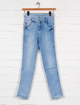 light blue casual wear high waist denim jeans
