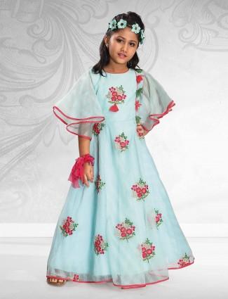 Light blue color tissue silk gown