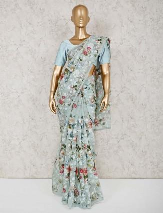 Light blue cotton printed sari