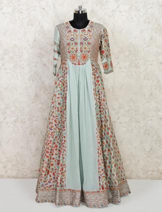 Light blue cotton wedding wear anarkali suit