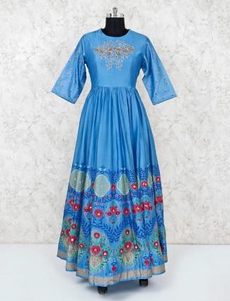 Light blue designer anarkali in cotton silk