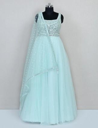 Light blue floor length anarkali suit for wedding
