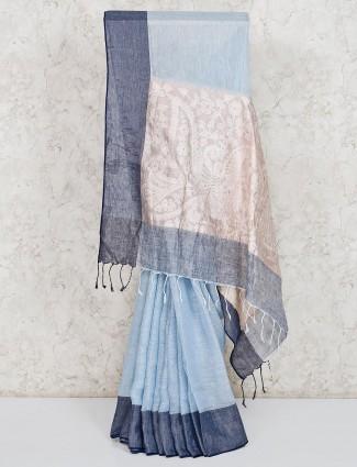 light blue linen festive wear saree