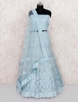 Light blue party wear net semi stitched lehenga choli