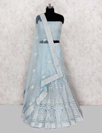 Light blue semi stitched lehenga choli in net fabric