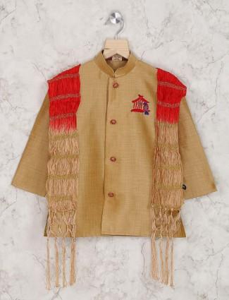 Light brown hue silk dhoti indo western