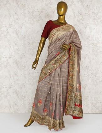 Light brown silk embroiderd saree