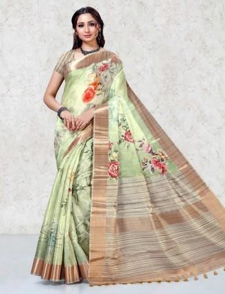 Light green beautiful printed saree