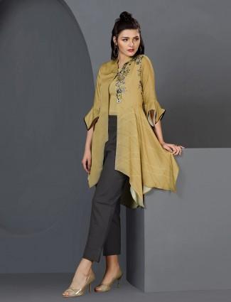 Light green casual cotton silk kurti set