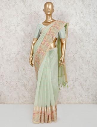 Light green cotton beautiful saree