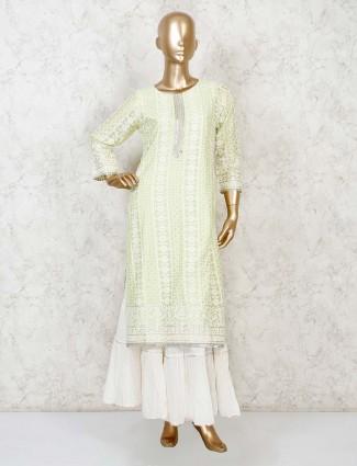 Light green cotton silk designer punjabi sharara suit