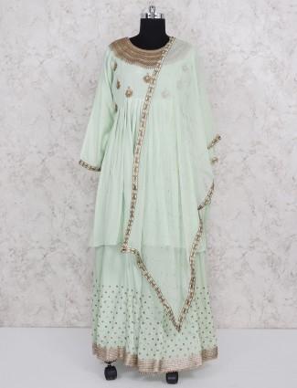 Light green cotton silk fabric party lehenga suit