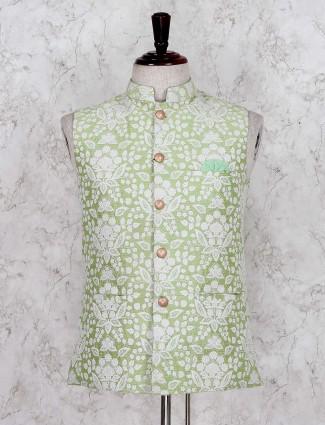Light green designer silk wedding waistcoat