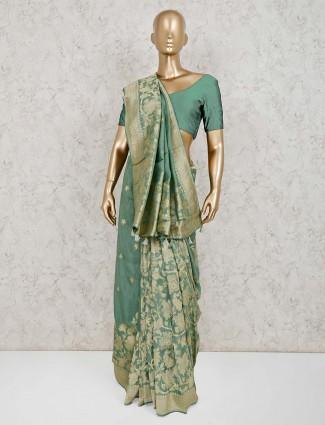 Light green dola silk classic saree