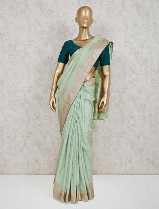 Light green dola silk saree for wedding