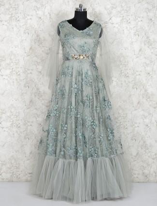 Light green net fabric v neck gown