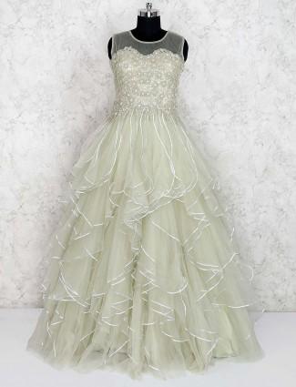 Light green net ruffle gown