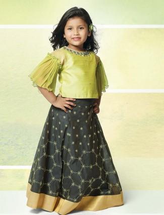 Light green party wear lehenga choli for cute girls