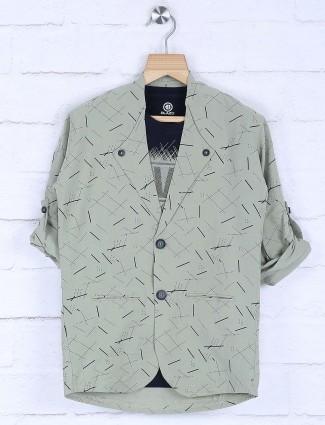 Light green printed cotton blazer