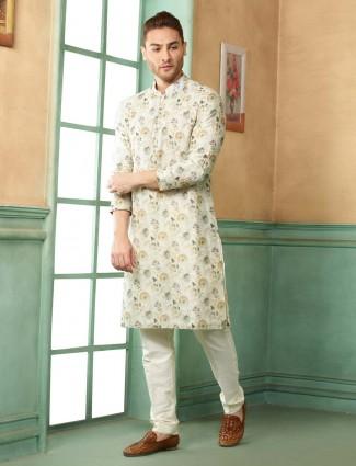 Light green printed pattern festive kurta suit