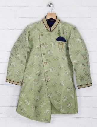 Light green printed raw silk indo western