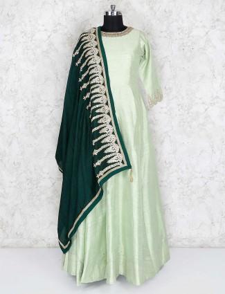 Light green raw silk fabric floor length anarkali salwar suit