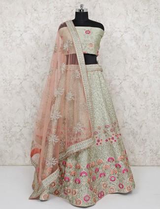 Light green raw silk fabric semi stitched lehenga choli