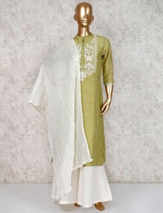 Light green sharara suit in cotton silk