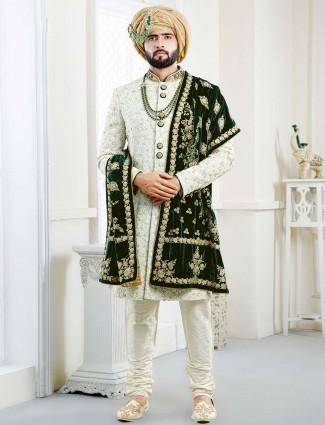 Light green wedding wear georgette sherwani