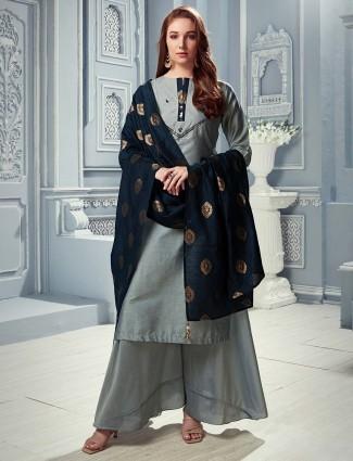Light grey cotton silk palazzo salwar suit